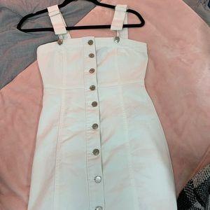 White denim button up dress